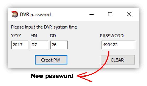 Dahua Password generator result
