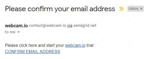 WebCam IO email confirmation