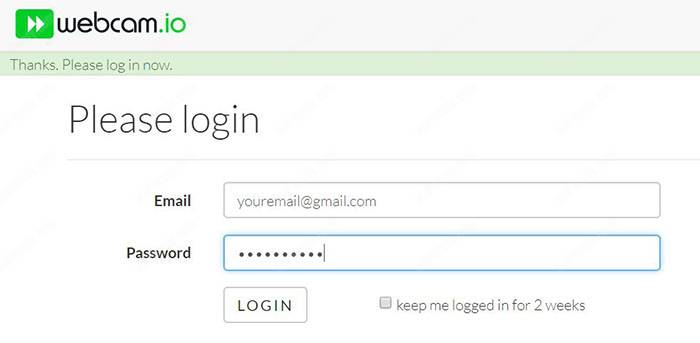 Webcam IO account login