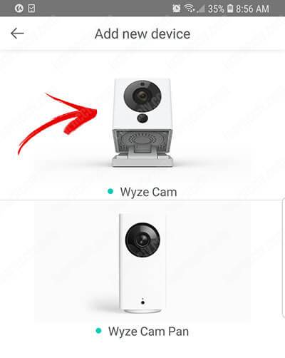 Wyze Cam V2 App - Choose camera