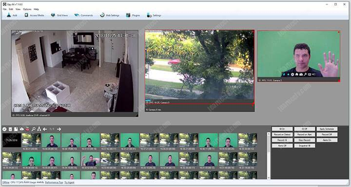 iSpy software with 3 cameras