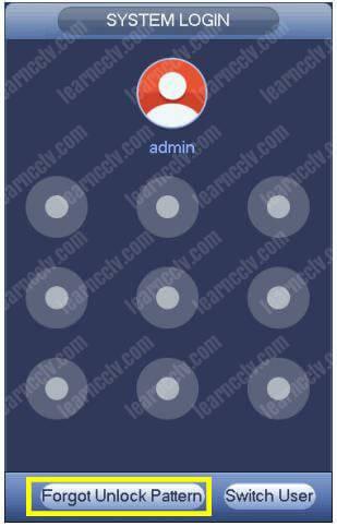 Dahua NVR Unlock Pattern