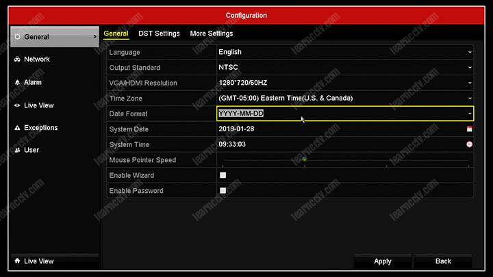 Hikvision DVR Main Menu Date and Time