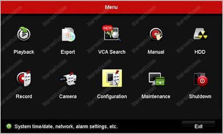 Hikvision DVR Menu Configuration