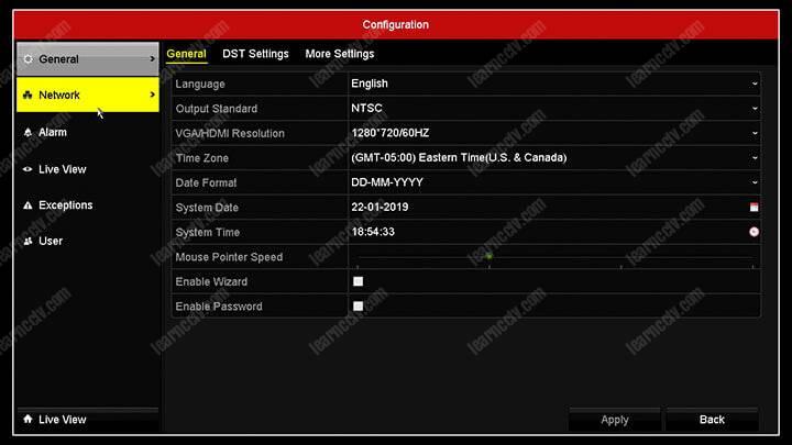 Hikvision DVR Menu Network