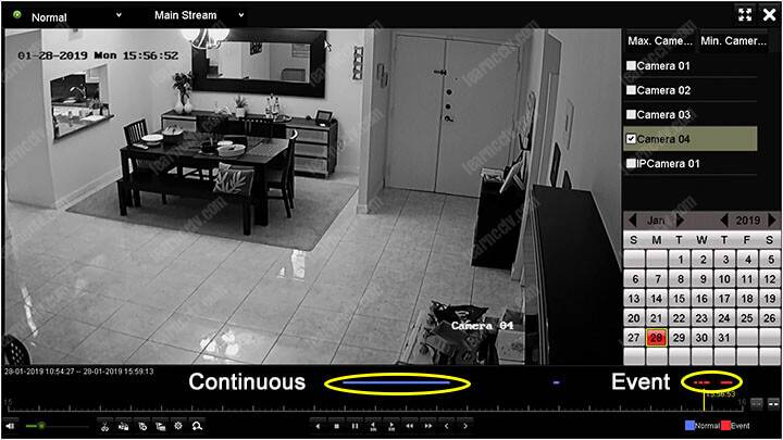 Hikvision DVR Phát lại liên tục và chuyển động