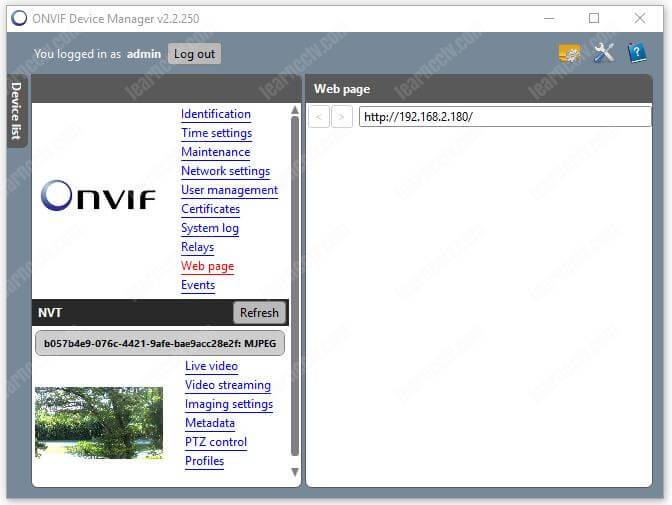 Onvif Device Manager Camera Webpage