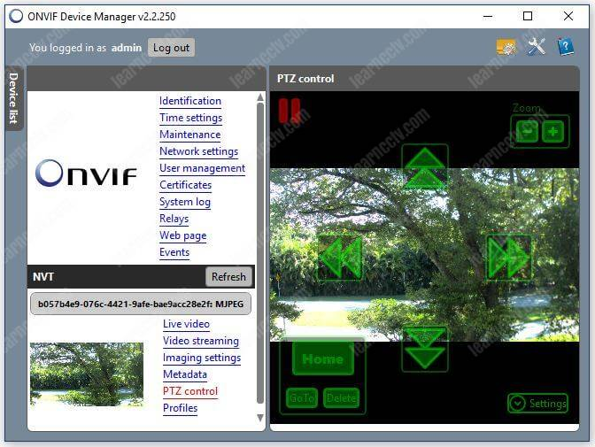 Onvif Device Manager Camera PTZ control