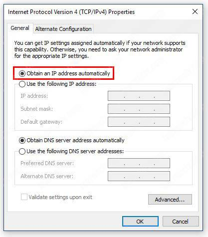 Windows Network Connections Obtain IP Automatically
