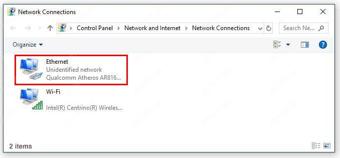 Windows network connection Ethernet
