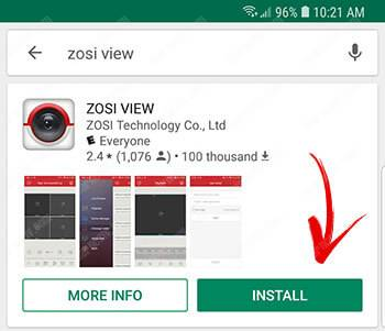 Zosi View Mobile App on Android Store