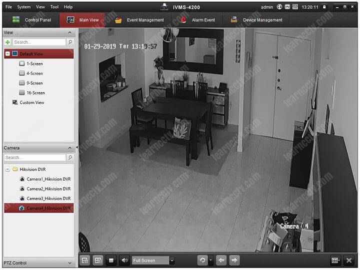 iVMS 4200 connected to a Hikvision DVR