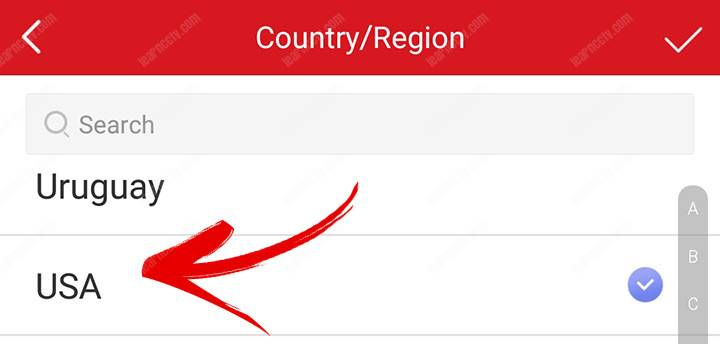 App config select your country