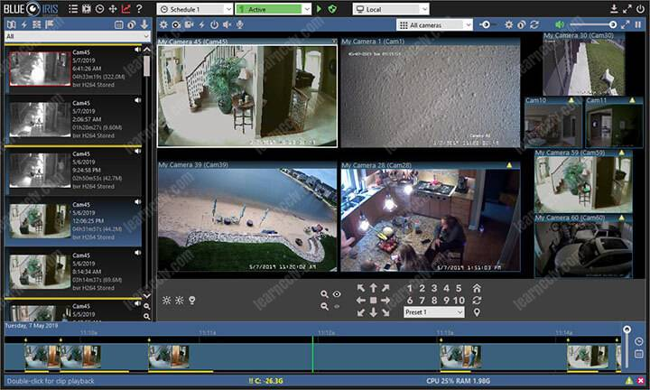 Sofware for security cameras recording