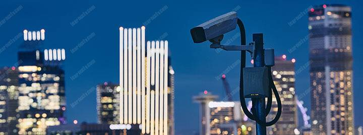 security camera against urban skyline