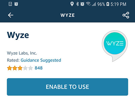 Enable the Wyze Skill