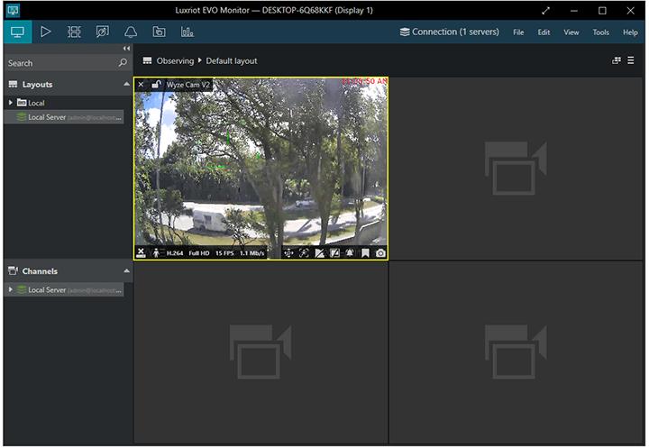 Wyze Cam on Luxriot Evo Monitor