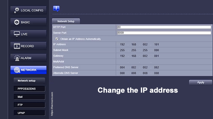 Zosi IP camera change IP address