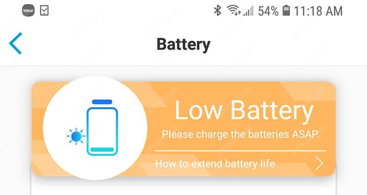 Reolink Argus PT Battery Low Battery Warning