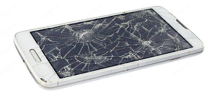 Mobile phone cracked screen