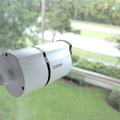 Security camera behind glass