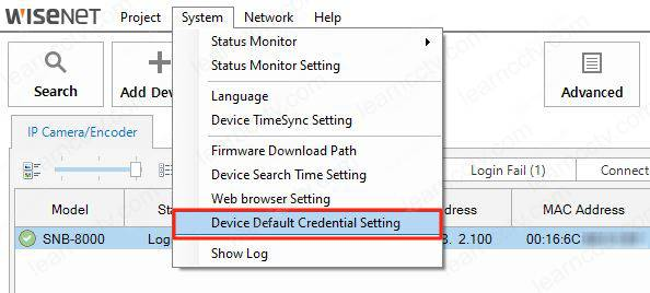 Wisenet Device Manager Default Credentials