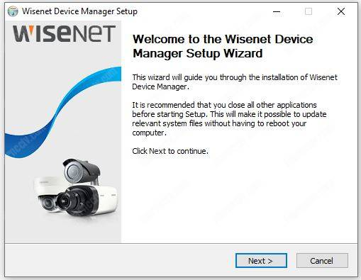 Wisenet Device Manager install 01