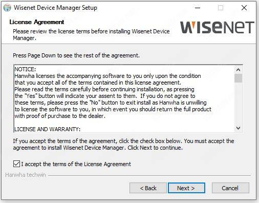 Wisenet Device Manager install 02