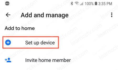 Google Home Add Device