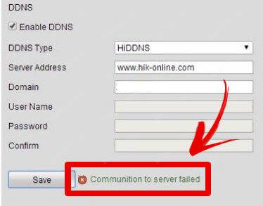 Hikvision communication to the server failed
