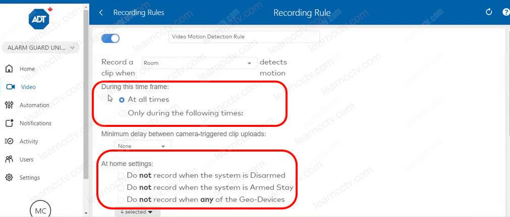 ADT Recording Rules