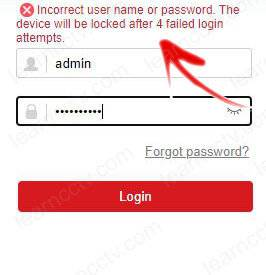 Camera warning about the login atempt