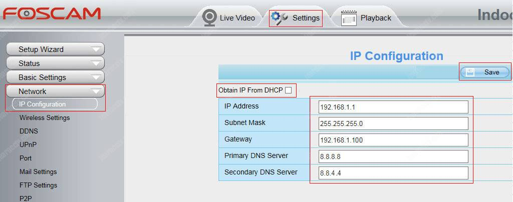 Foscam camera IP Address