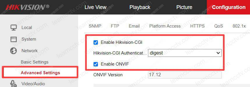 Hikvision Enable CGI and ONVIF protocol