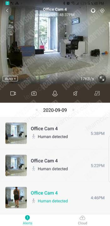 Yi Home Camera on the App