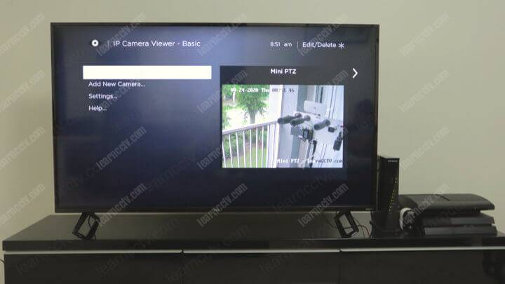 Camera connected to a Roku TV