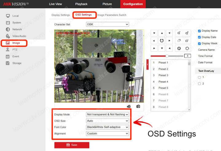 Hikvision OSD Settings