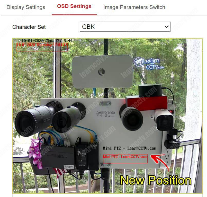 Hikvision camera OSD position