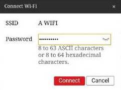 Enter the password to connect to the Wi-Fi