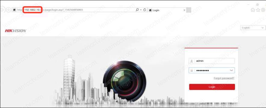 Web browser to login to the WiFi Camera