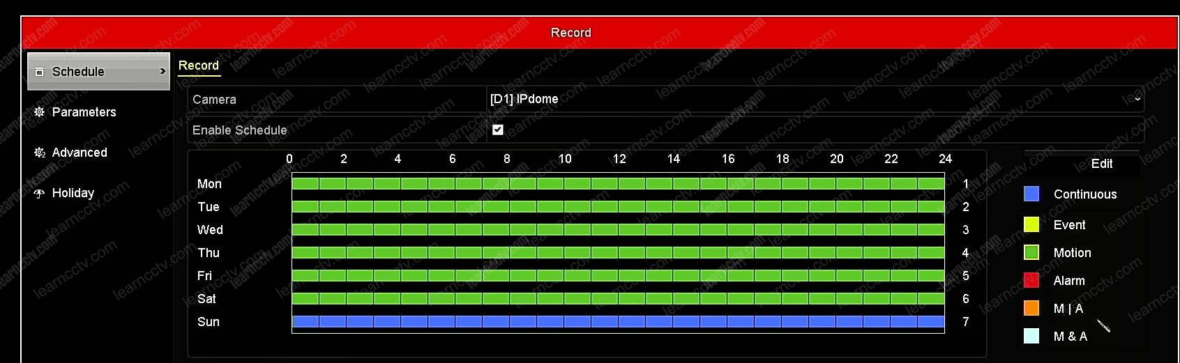 Hikvision NVR Record options