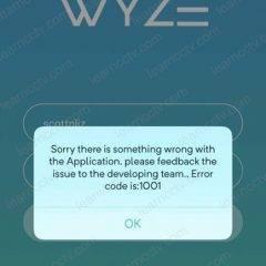 Wyze error 1001 on iOS