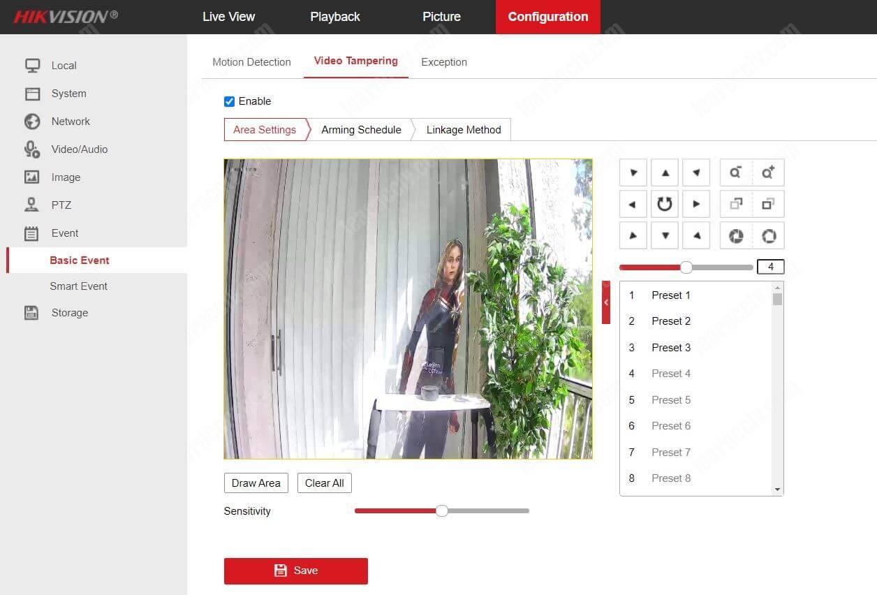 Bật giả mạo video trên Hikvision NVR