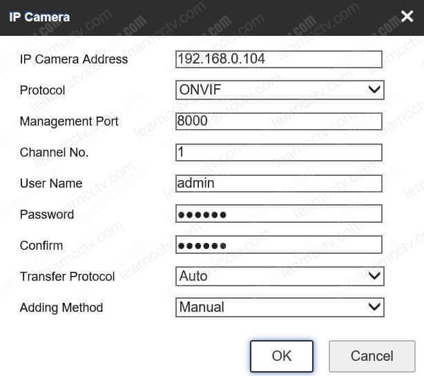 Adding ONVIF camera to a Hikvision NVR