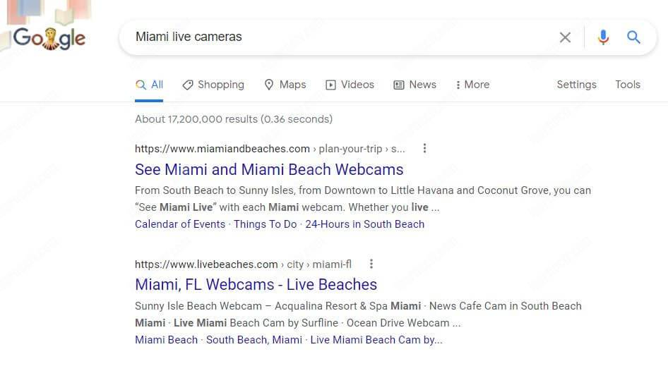 Google Search Miami Live Cameras