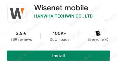 Wisenet Mobile App Install
