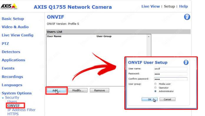 Enable ONVIF on Axis cameras