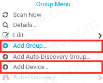 Add group and device to the PRTG software