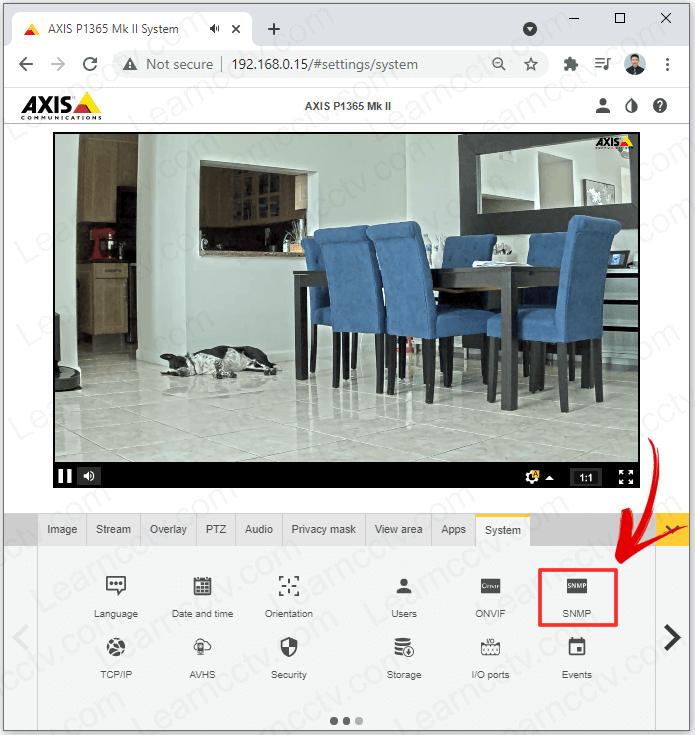 Axis camera SNMP menu