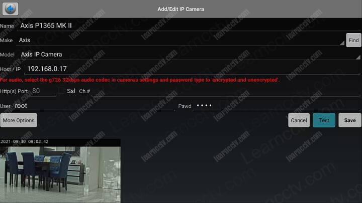 Axis camera working in the IP camera Viewer